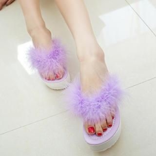 QQ Trend - Feather Platform Flip-Flops