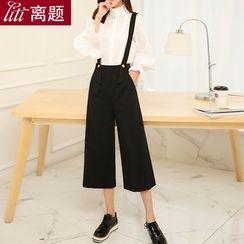 LITI - Wool Suspender Wide-leg Pants