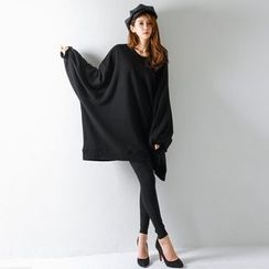 FASHION DIVA - Balloon-Sleeve Oversized Pullover Dress