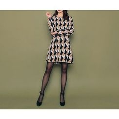 HOTPING - Round-Neck Pattern Dress