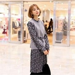 clicknme - Set: Sleeveless Knit Top + Floral Pattern Dress with Belt
