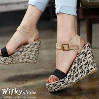 Wifky - Contrast-Trim Espadrille Wedge Sandals