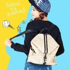 BeiBaoBao - Faux-Leather Printed Backpack