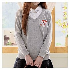 Sechuna - Inset Shirt Embroidered Knit Top