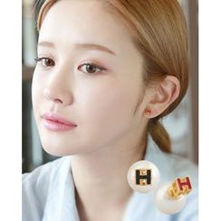 Miss21 Korea - Lettering Faux-Pearl Double-Side Earrings