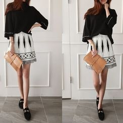 NIPONJJUYA - Geometric Pattern Knit A-Line Mini Skirt