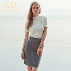 Aision - Button-Up Shirt / Pencil Skirt