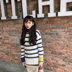 QZ Lady - Turtleneck Striped Long Sweater