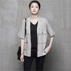 HALUMAYBE - Short-Sleeve Single Button Jacket