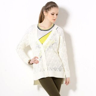 YesStyle Z - Crochet Panel Pointelle Knit Cardigan