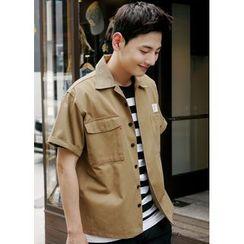 JOGUNSHOP - Short-Sleeve Pocket-Front Shirt