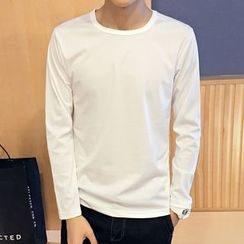 RIVOLO - Long-Sleeve Plain T-Shirt