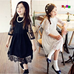 Cuckoo - Kids Elbow Sleeve Midi Lace Dress