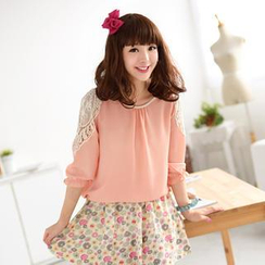 59 Seconds - 3/4-Sleeve Crochet Panel Top