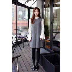 CHERRYKOKO - Sleeveless Plaid Wool Blend Shift Dress
