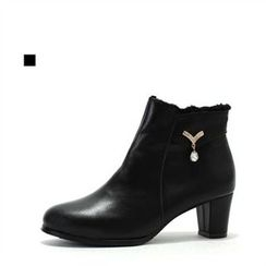 MODELSIS - Genuine Leather Zip-Side Ankle Boots