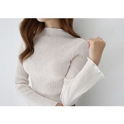 Hello sweety - Mock-Neck Textured Top