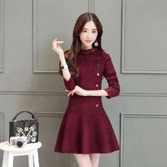 Romantica - Long-Sleeve Buttoned A-Line Dress