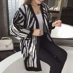 Poppy Love - Zebra Print Long Cardigan