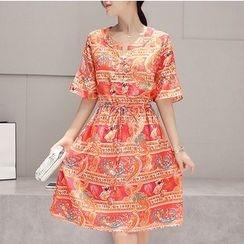 Dowisi - Print Elbow Sleeve Drawstring Waist Chiffon Dress