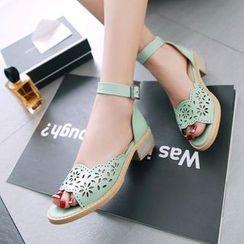 Pastel Pairs - Cutout Ankle Strap Sandals