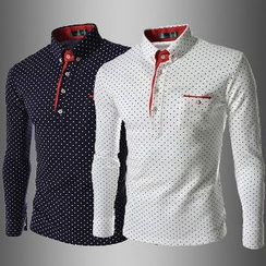 Aozora - Long-Sleeve Dotted Polo Shirt