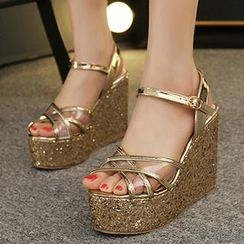 Mancienne - Glitter Platform Wedge Sandals