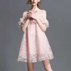Cheer Mom - Maternity Short-Sleeve Cutout Dress