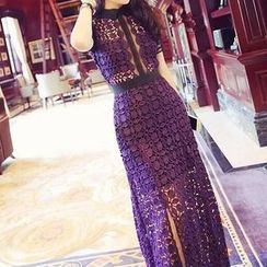 Furuto - Short-Sleeve Collared Lace Panel Slit Midi Dress