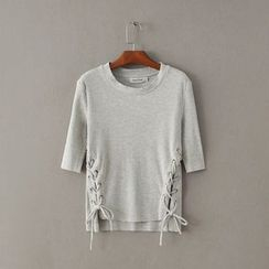 Amoura - Lace-Up Elbow-Sleeve T-Shirt