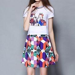 妮佳 - 套装: 短袖印花T恤 + 图案裙