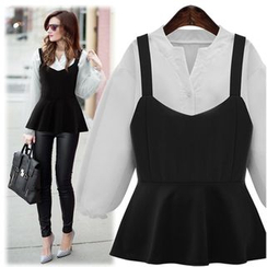 VIZZI - Set: Peplum Camisole Top + Lantern Sleeve Blouse