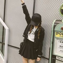 Fashion Street - Striped Baseball Jacket