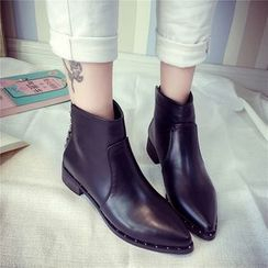 QQ Trend - Studded Chunky Heel Ankle Boots
