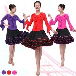Dancing Queen - Dance Set: Plain Long Sleeve Top + Skirt