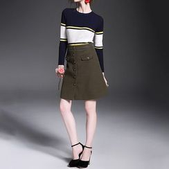 Alaroo - Set: Striped Long-Sleeve Knit Top + Buttoned A-Line Skirt