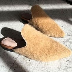 QNIGIRLS - Faux-Fur Trim Mules