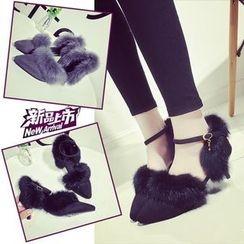Yoflap - Faux Fur Trim Ankle Strap Pumps