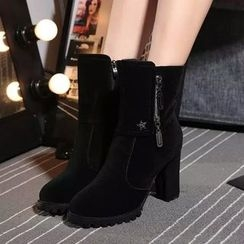 Yoflap - Faux Suede Heel Boots