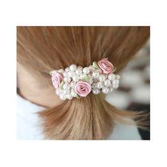 Miss21 Korea - Rose Faux-Pearl Cluster Hair Tie