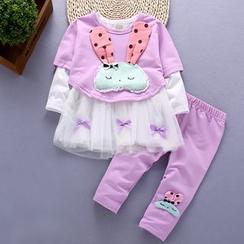 POMME - Kids Set: Rabbit Applique Mesh Hem Long Sleeve Top + Leggings