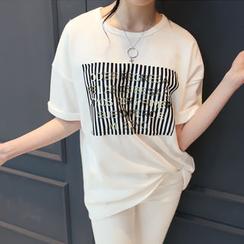 DANI LOVE - Short-Sleeve Lettering T-Shirt