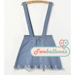 JVL - Distressed Denim Suspenders Skirt