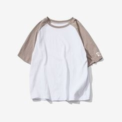Troopers - Elbow-Sleeve Contrast-Color T-Shirt