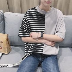 JUN.LEE - Striped Panel Elbow Sleeve T-Shirt