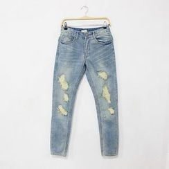 Mr. Cai - Distressed Slim-Fit Jeans