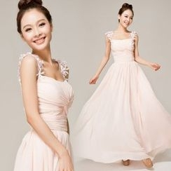 Gracia - Ribbon-Strap Twisted-Knot Evening Gown