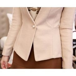 Marlangrouge - Collarless Wool Blend Blazer