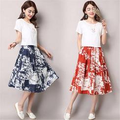 GLIT - Set: Plain Short-Sleeve Top + Printed Midi Skirt