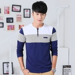 INSO - Color Panel Long Sleeve Henley T-Shirt